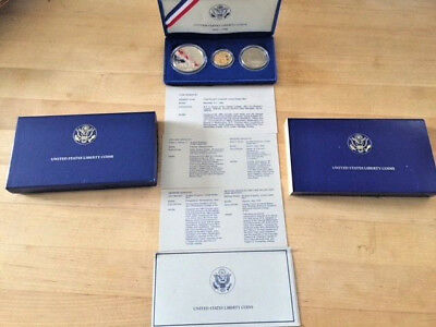1986 Liberty 3 Coin Proof Commemorative Set Gold $5 Silver $1 & 50c US Mint