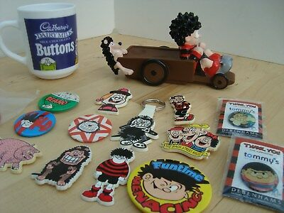 BEANO VINTAGE COLLECTION OF NOVELTY BADGES MUG TOY KEYRING 1990s-early2000