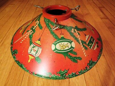 """Vintage 19.5"""" Red Tin Litho CHRISTMAS TREE STAND Santa Ornaments Candy Canes"""