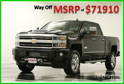 2018 Chevrolet Silverado 2500 HD MSRP$71910 4X4 High Country DVD Diesel Black 4W New 2500HD Duramax Heated Cooled Leather Seats Camera 17 2017 18 Navigation Cab