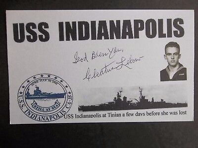USS INDIANAPOLIS Survivor Cleatus Lebow WWII Autographed 3x5 Index Card