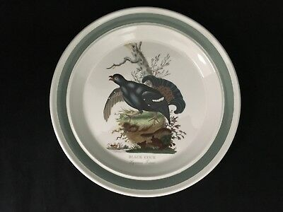 "Portmeirion Birds Of Britain Black Cock 10 3/8"" Dinner Plate Green Band"