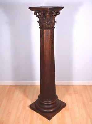 *Antique French Corinthian Display Pedestal/Plant Stand or Pillar/Column in Oak
