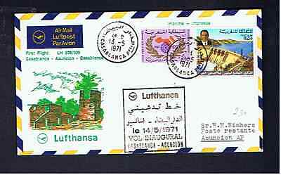 LUFTHANSA 1971 1st FLIGHT CASABLANCA-ASUNCION