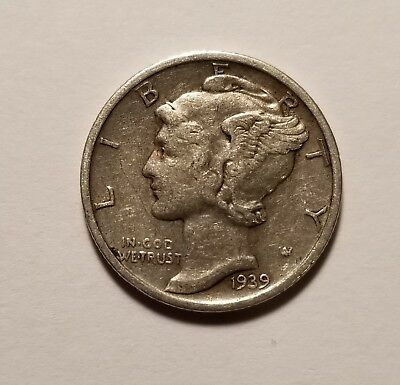 1939 S 90% SILVER US Coin Mercury Dime 10C Free Shipping #156