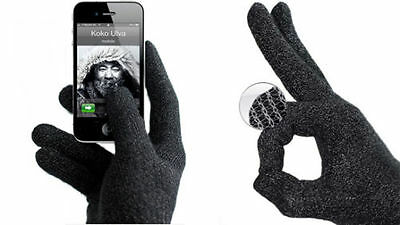 Black Mujjo Refined Touch screen Unisex Gloves FOR Smart Phones M/L