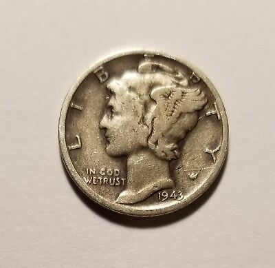 1943 D 90% SILVER US Coin Mercury Dime 10C Free Shipping #158
