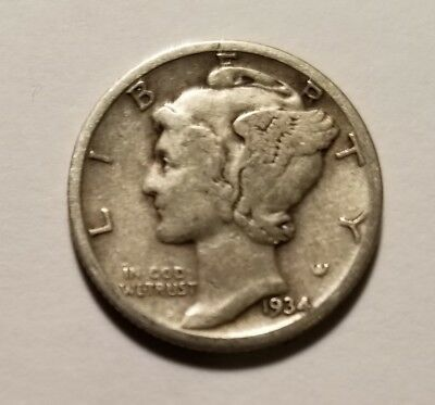 1934 90% SILVER US Coin Mercury Dime 10C Free Shipping #160
