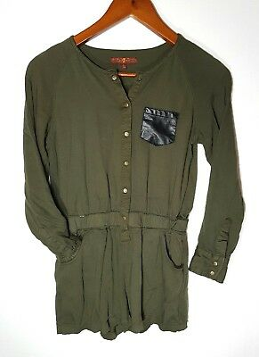 7 For All Mankind Junior Girls Size L Green Long Sleeved Button Up Romper