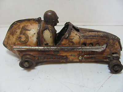 Antique Pressed Steel Toy Aaa Midget Race Car For Parts Or Restore