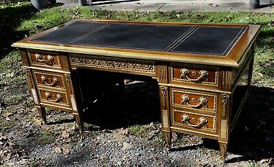 Mahogany Leather Top Executive Desk With Ormolu Mounts