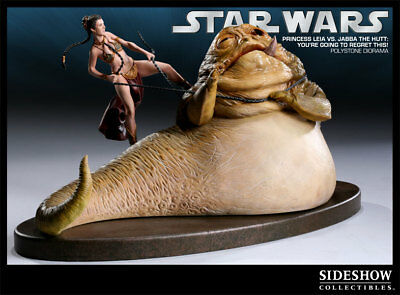"""Sideshow Star Wars Slave Leia vs Jabba  """"You're Going to Regret This"""""""