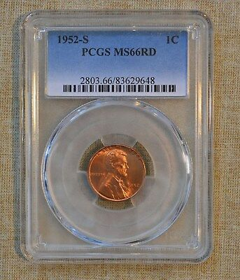 1952-S Lincoln Wheat Cent - Pcgs Slabbed - Ms66Rd