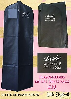 Personalised Extra Large Bridal Wedding Dress Bag Cover Carrier In Black