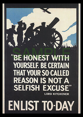 Be Honest With Yourself Enlist Today WW1 framed poster reproduction V. Soutril