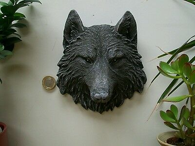 Stunning wolfhead plaque wiccan pagan garden ornament  frost and weather proof