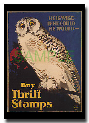 Buy Thrift Stamps WW1 Snowy Owl Canada framed repro poster