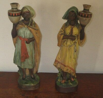 Pair Of Old Bohemian Probably Austrian  Of Egyptian / African Figures