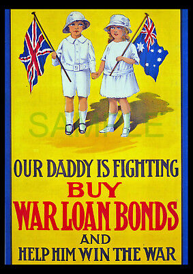 Buy War Loan Bonds WW1 Australia framed poster reproduction