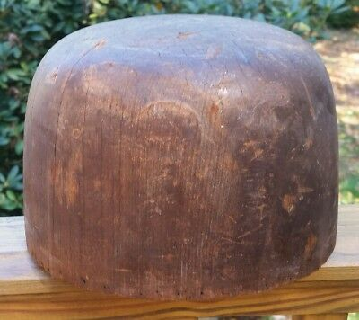 Antique Millinery Wood Hat Block Mold size 7-5/8 5 5/8 DH