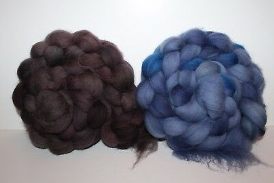 Hand Dyed Cheviot Wool Top. Roving. Spin. Felt. 2 Braids. Weighs 1/2lb. C4