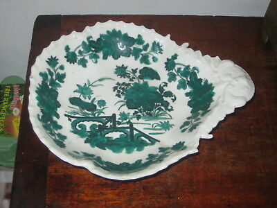 English Dish Shell Shape Oriental Inspired Design In Green Cir 1830S