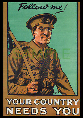 Follow Me Your Country Needs You WW1 framed 1914 poster reproduction E J Kealey