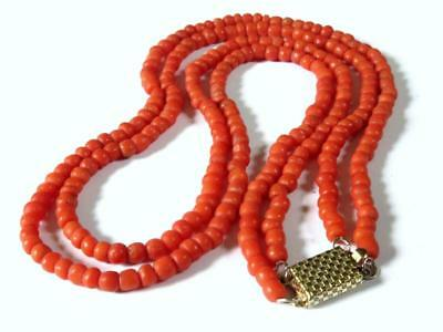 Antique Victorian Double-String Coral Bead Necklace.
