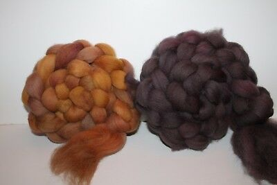 Hand Dyed Cheviot Wool Top. Roving. Spin. Felt. 2 Braids. Weighs 1/2lb. C7