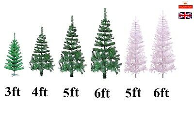 3ft 4ft 6ft Traditional GREEN / WHITE Indoor Artificial Christmas Xmas Tree
