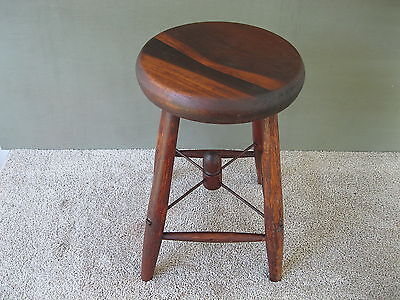 """Antique Stool Primitive Country Style, Pine/Oak Wood 18"""" Tall 4-Leg Bench, Table"""