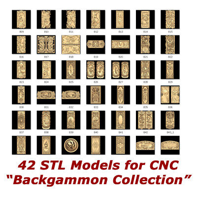 "42 3d STL Models - ""Backgammon"" for CNC relief artcam 3d printer aspire"