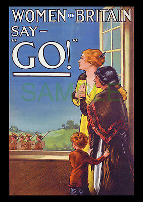 Women of Britain say Go! WW1 framed 1915 poster reproduction E J Kealey