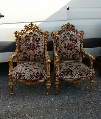 Pair Of Gilted Throne Style Chairs