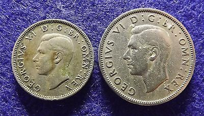 1948 GREAT BRITAIN Shilling & Florin - 2 George VI Coins, Better Grade (#1200)