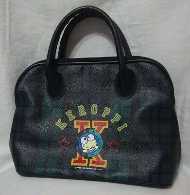 Vintage 1988 1994 Keroppi Handbag Sanrio Green Blue Plaid Pattern on Vinyl