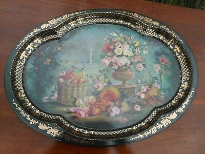 Victorian Style Floral  Metal Serving Tray