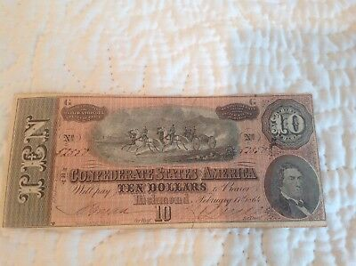 Civil War Confederate 1864 10 Dollar Bill Richmond Virginia Paper Money Currency
