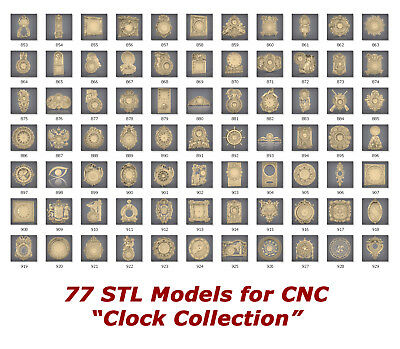 "77 3d STL Models - ""Clock Collection"" for CNC relief artcam 3d printer aspire"
