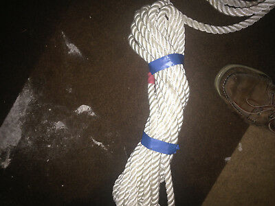 2 DOCK LINES 15mm X 7mts and 8mts NYLON WHITE 3-STRAND BOAT