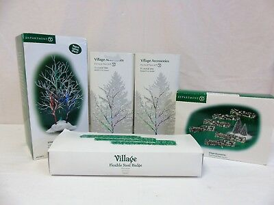 Dept 56 Village Accessories Trees Stonewall Hedges Lot of 5