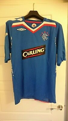 Glasgow Rangers 2007-08 Home top shirt strip kit Umbro UEFA Cup Final Large