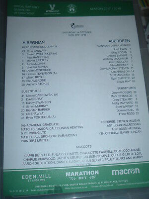 Hibernian v Aberdeen Oct 2017 colour team sheet