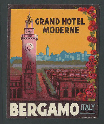 Grand Hotel Moderne BERGAMO Italy - vintage luggage label