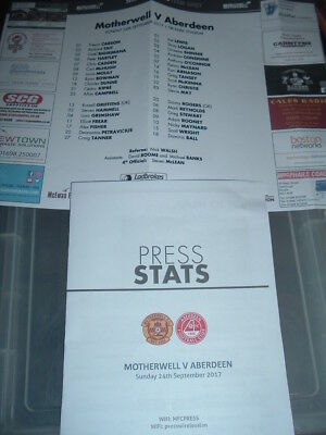 Motherwell v Aberdeen 24th Sept 2017 colour team sheet + press programme