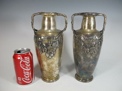 Antique Pair of German Kaiser Silverplated Vases # AS/M127