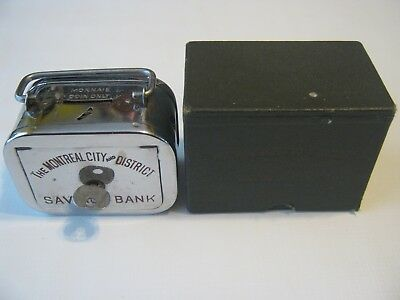 Vintage The Montreal City Savings Bank #56298 Home Nickel Plated Bank with Key