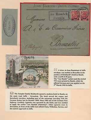 PALESTINE 19O3 TEMPLER REINHARDT'S HOTEL IN RAMLE.  JAFFA TO BRUXELLES. scarce