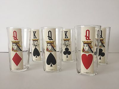Vintage Poker Playing Cards Highball Tumbler Glasses Set Of 6