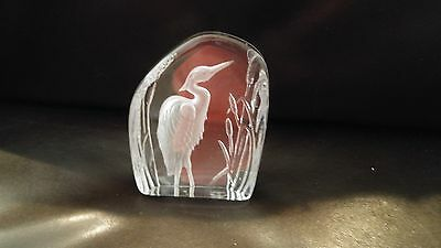 Carved Lead Glass Crystal Paper Weight Sculpture Egret
